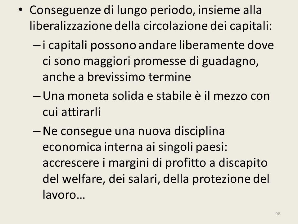Conseguenze di lungo periodo, insieme alla liberalizzazione della circolazione dei capitali: