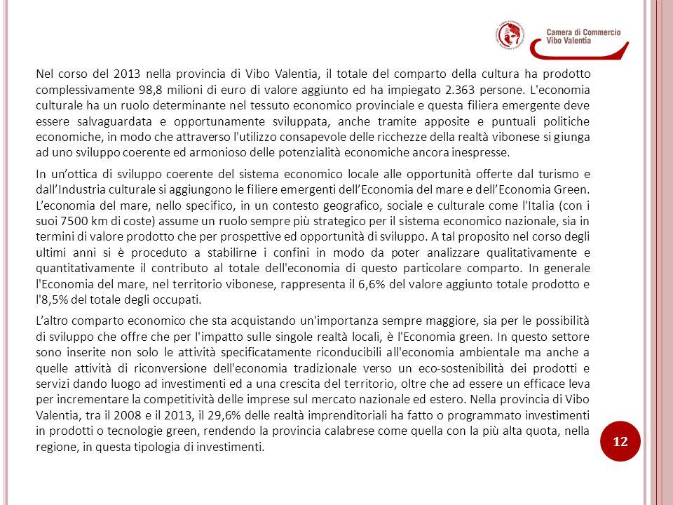 Nel corso del 2013 nella provincia di Vibo Valentia, il totale del comparto della cultura ha prodotto complessivamente 98,8 milioni di euro di valore aggiunto ed ha impiegato 2.363 persone.