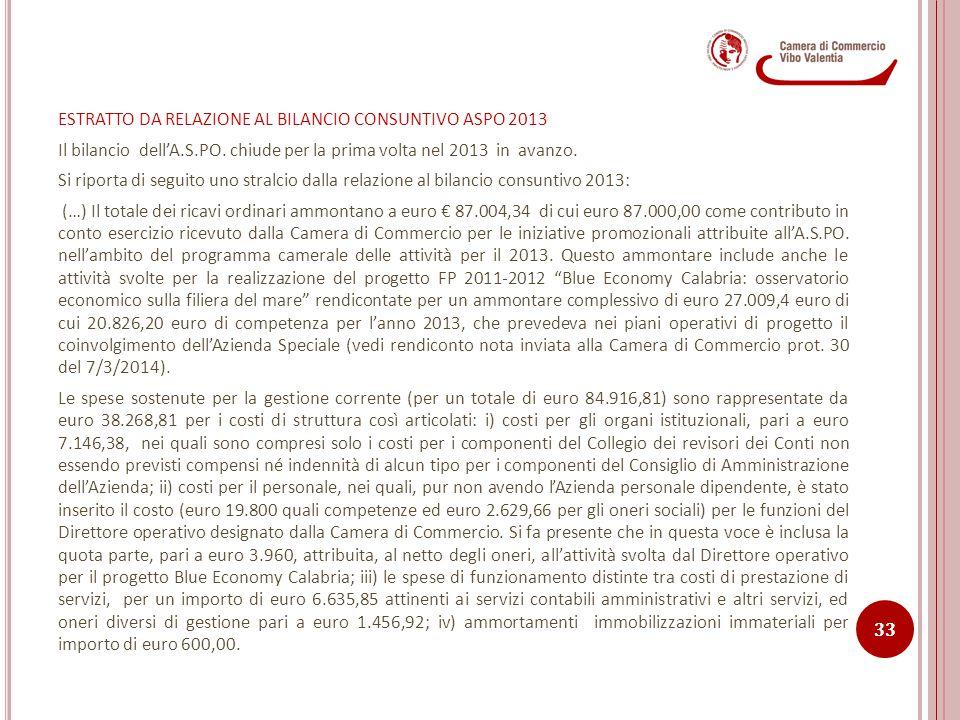 ESTRATTO DA RELAZIONE AL BILANCIO CONSUNTIVO ASPO 2013