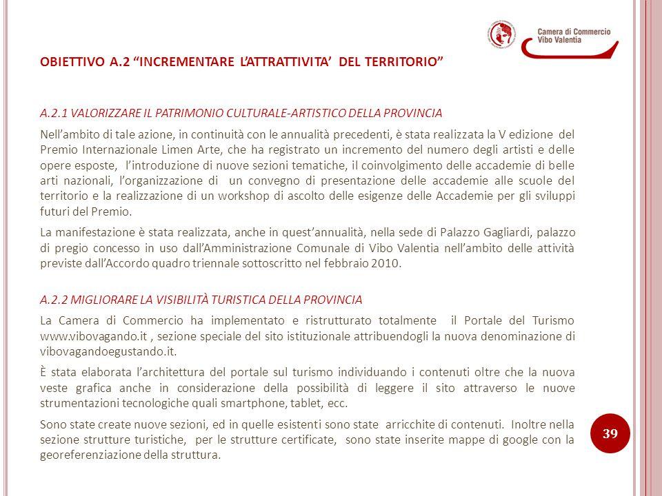 OBIETTIVO A.2 INCREMENTARE L'ATTRATTIVITA' DEL TERRITORIO