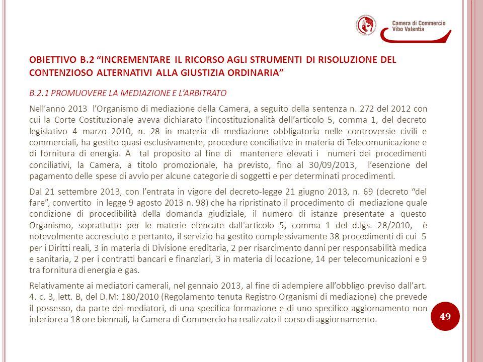 OBIETTIVO B.2 INCREMENTARE IL RICORSO AGLI STRUMENTI DI RISOLUZIONE DEL CONTENZIOSO ALTERNATIVI ALLA GIUSTIZIA ORDINARIA