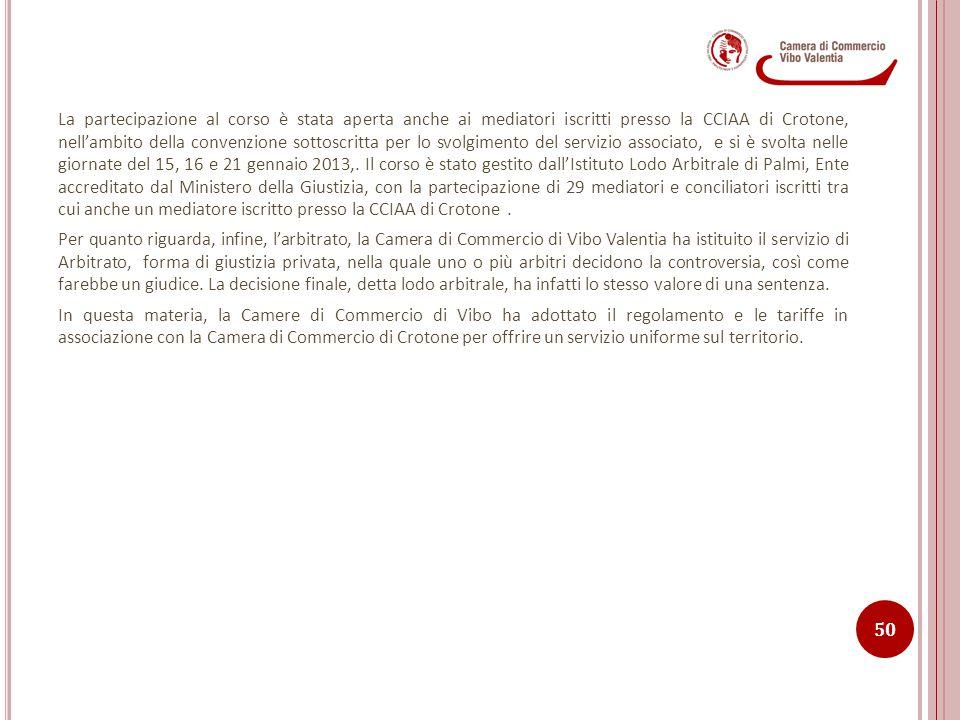 La partecipazione al corso è stata aperta anche ai mediatori iscritti presso la CCIAA di Crotone, nell'ambito della convenzione sottoscritta per lo svolgimento del servizio associato, e si è svolta nelle giornate del 15, 16 e 21 gennaio 2013,. Il corso è stato gestito dall'Istituto Lodo Arbitrale di Palmi, Ente accreditato dal Ministero della Giustizia, con la partecipazione di 29 mediatori e conciliatori iscritti tra cui anche un mediatore iscritto presso la CCIAA di Crotone .