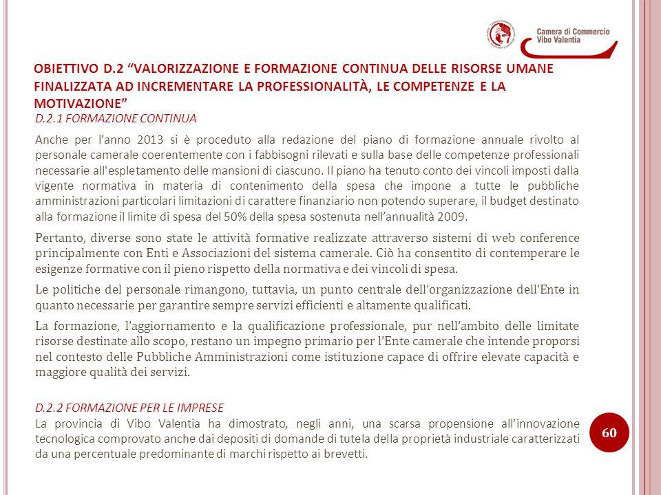 OBIETTIVO D.2 VALORIZZAZIONE E FORMAZIONE CONTINUA DELLE RISORSE UMANE FINALIZZATA AD INCREMENTARE LA PROFESSIONALITÀ, LE COMPETENZE E LA MOTIVAZIONE