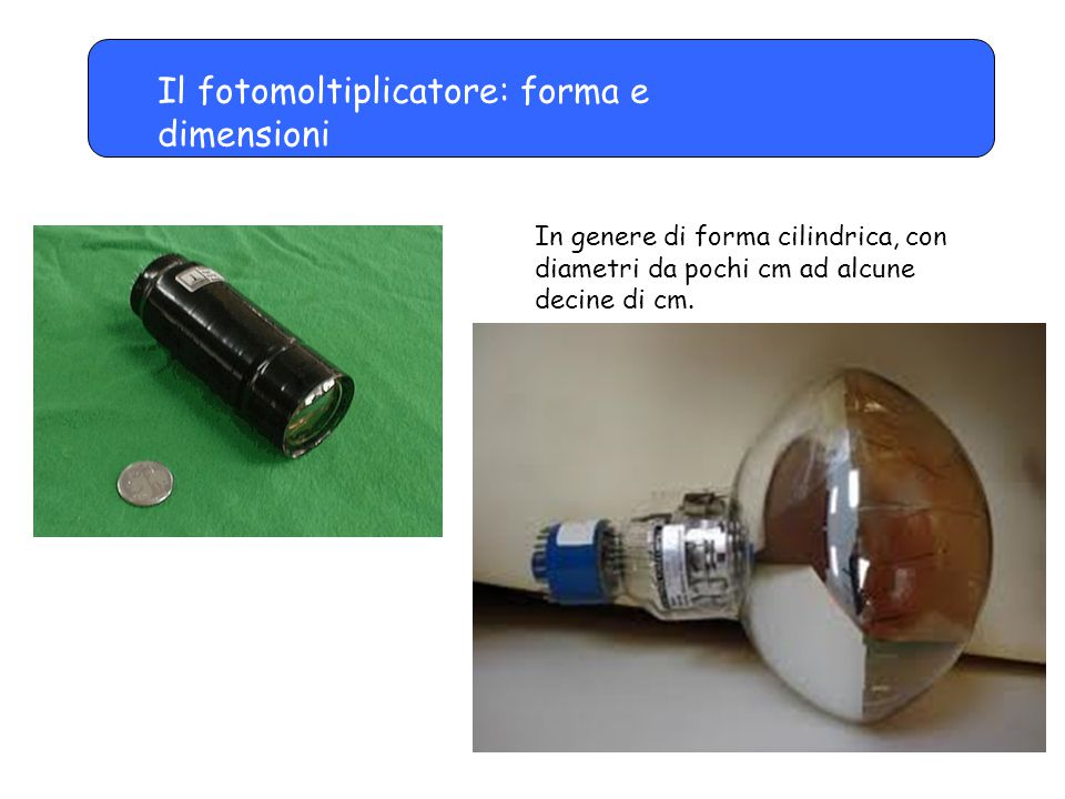 Il fotomoltiplicatore: forma e dimensioni