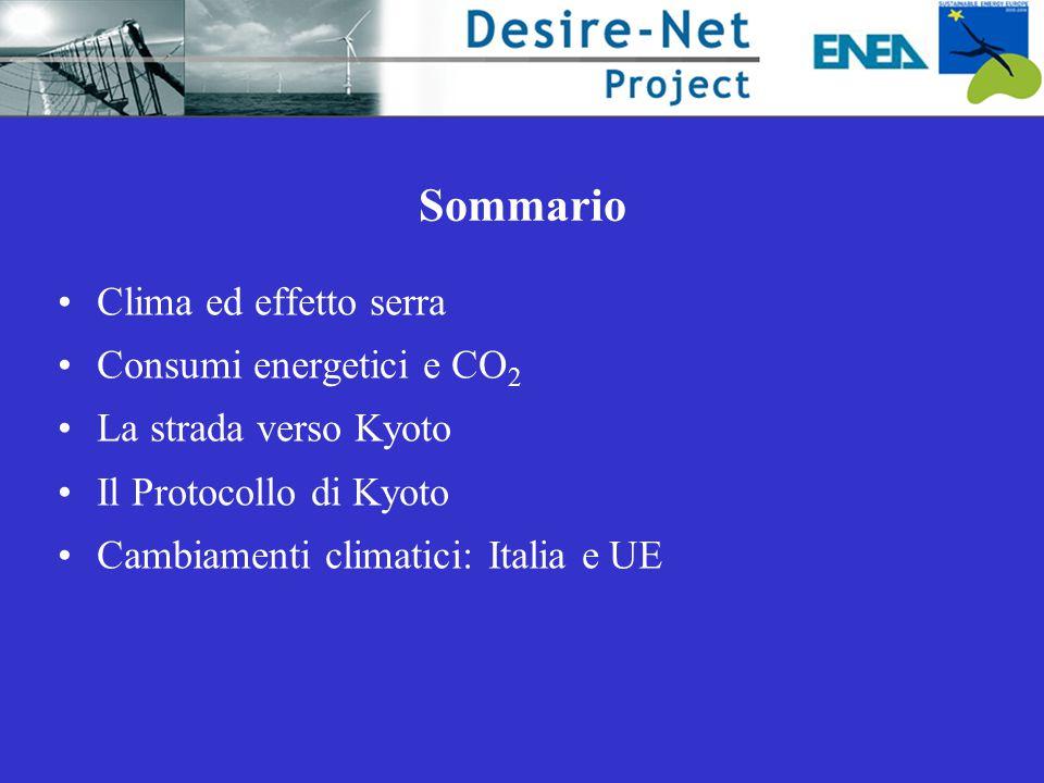 Sommario Clima ed effetto serra Consumi energetici e CO2