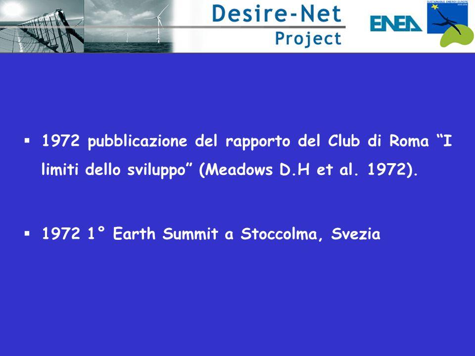 1972 pubblicazione del rapporto del Club di Roma I limiti dello sviluppo (Meadows D.H et al. 1972).
