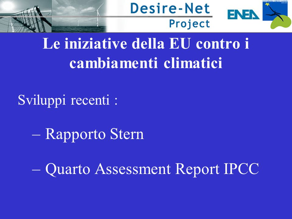Le iniziative della EU contro i cambiamenti climatici