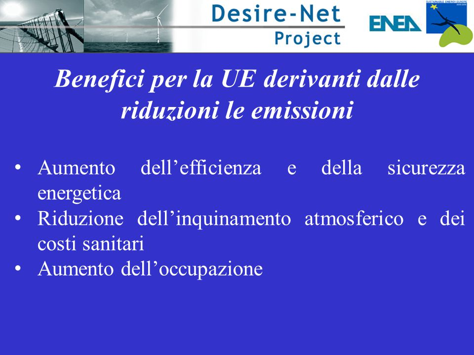 Benefici per la UE derivanti dalle riduzioni le emissioni