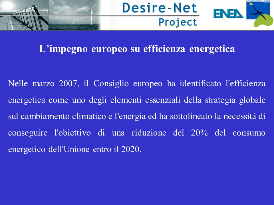 L'impegno europeo su efficienza energetica