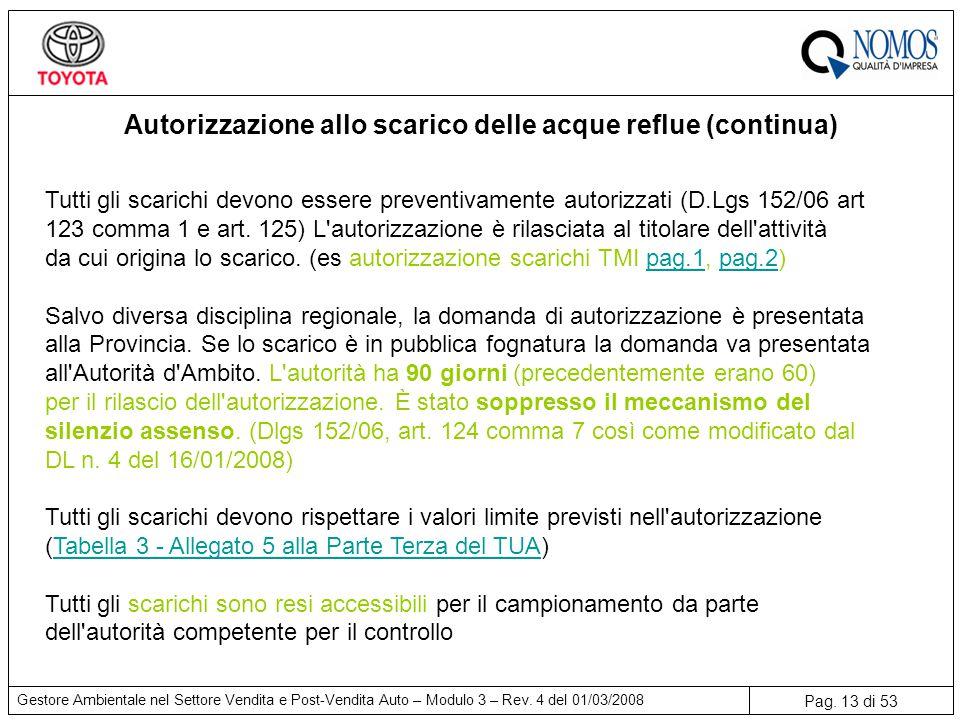 Autorizzazione allo scarico delle acque reflue (continua)