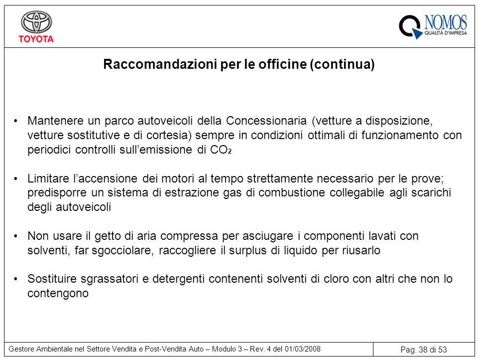 Raccomandazioni per le officine (continua)