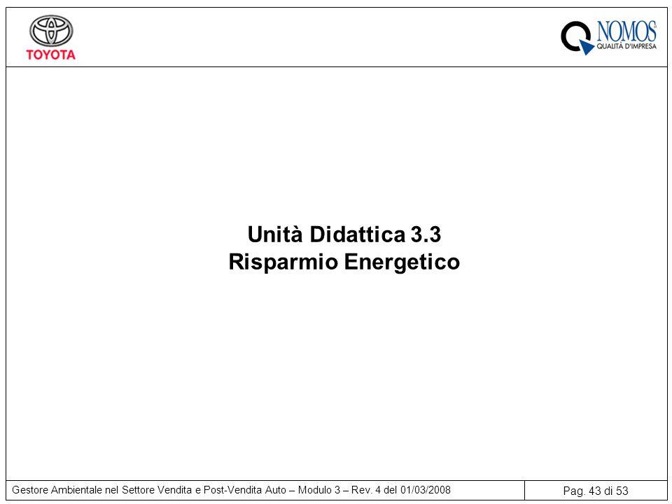 Unità Didattica 3.3 Risparmio Energetico