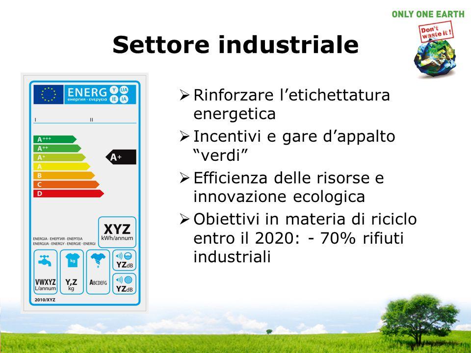 Settore industriale Rinforzare l'etichettatura energetica