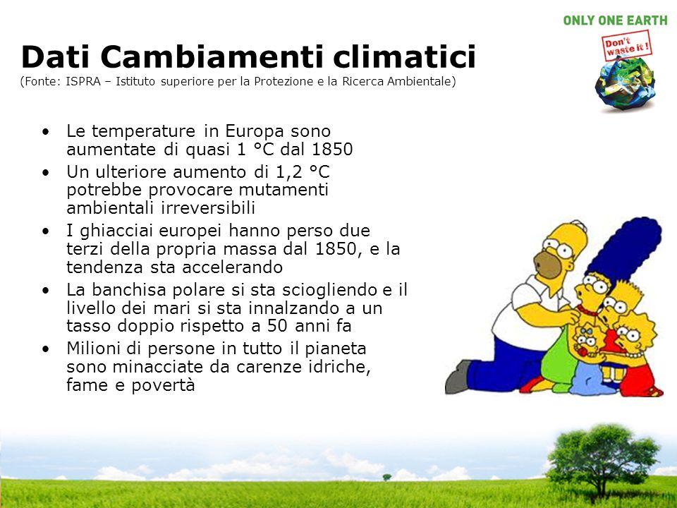Dati Cambiamenti climatici (Fonte: ISPRA – Istituto superiore per la Protezione e la Ricerca Ambientale)