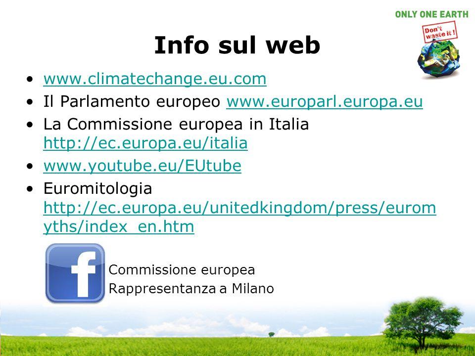 Info sul web www.climatechange.eu.com. Il Parlamento europeo www.europarl.europa.eu. La Commissione europea in Italia http://ec.europa.eu/italia.