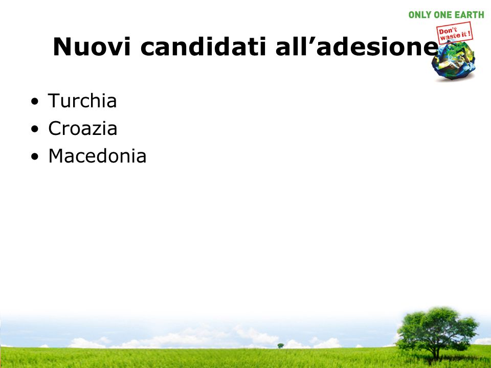 Nuovi candidati all'adesione