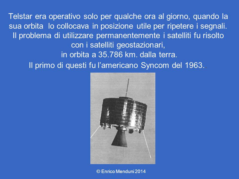 Telstar era operativo solo per qualche ora al giorno, quando la sua orbita lo collocava in posizione utile per ripetere i segnali. Il problema di utilizzare permanentemente i satelliti fu risolto con i satelliti geostazionari, in orbita a 35.786 km. dalla terra. Il primo di questi fu l'americano Syncom del 1963..