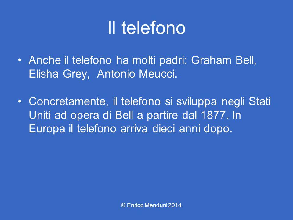 Il telefono Anche il telefono ha molti padri: Graham Bell, Elisha Grey, Antonio Meucci.