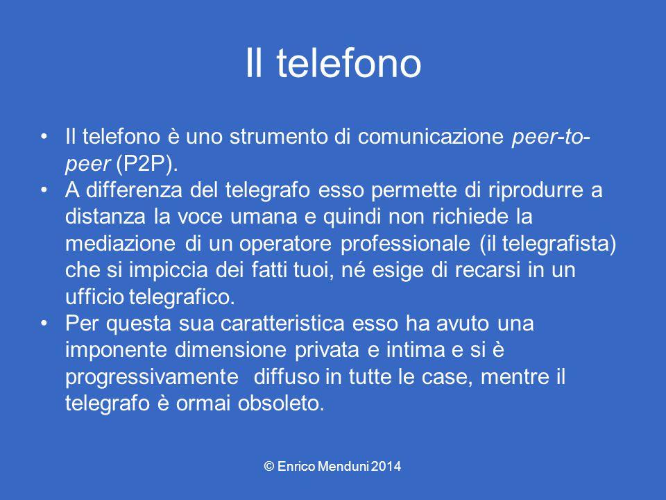 Il telefono Il telefono è uno strumento di comunicazione peer-to-peer (P2P).