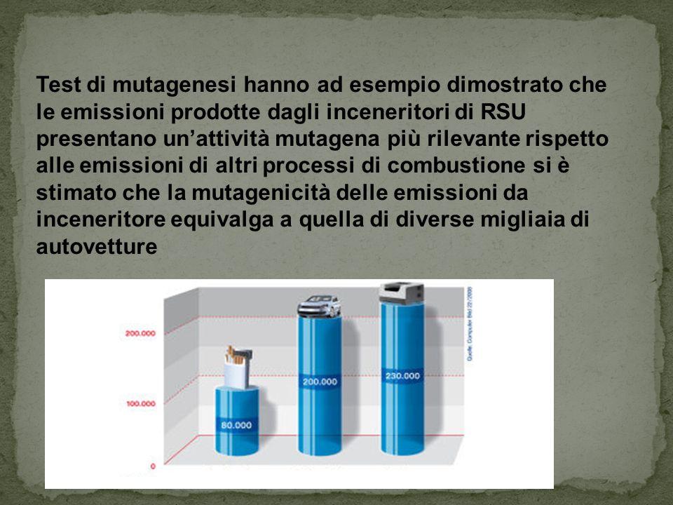 Test di mutagenesi hanno ad esempio dimostrato che le emissioni prodotte dagli inceneritori di RSU presentano un'attività mutagena più rilevante rispetto alle emissioni di altri processi di combustione si è stimato che la mutagenicità delle emissioni da inceneritore equivalga a quella di diverse migliaia di autovetture