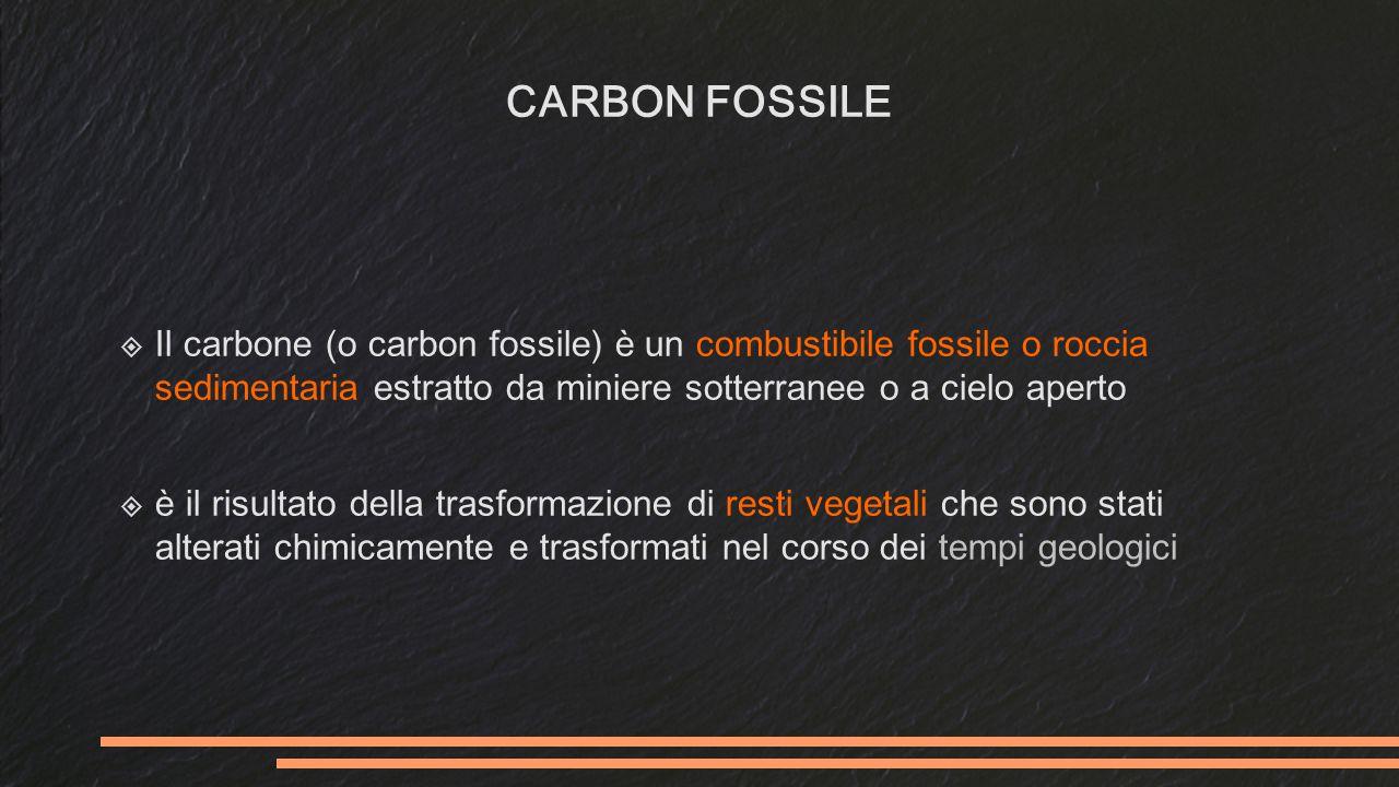 CARBON FOSSILE Il carbone (o carbon fossile) è un combustibile fossile o roccia sedimentaria estratto da miniere sotterranee o a cielo aperto.