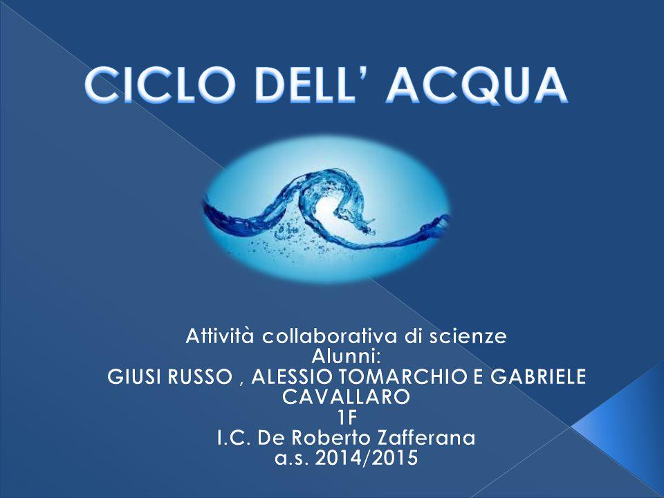 CICLO DELL' ACQUA Attività collaborativa di scienze Alunni: