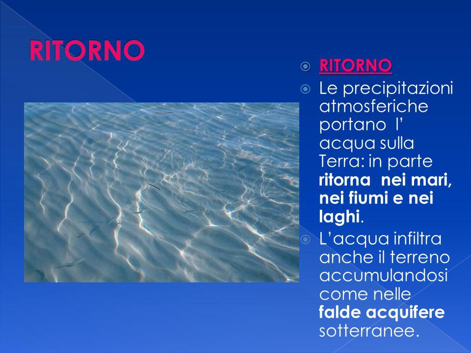 RITORNO RITORNO. Le precipitazioni atmosferiche portano l' acqua sulla Terra: in parte ritorna nei mari, nei fiumi e nei laghi.