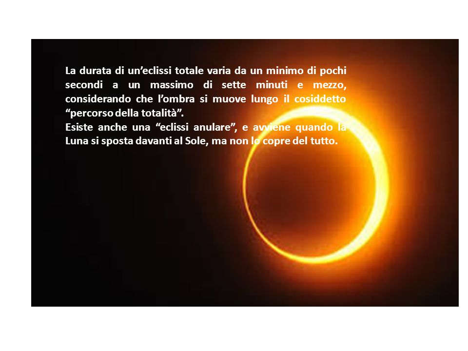 La durata di un'eclissi totale varia da un minimo di pochi secondi a un massimo di sette minuti e mezzo, considerando che l'ombra si muove lungo il cosiddetto percorso della totalità .
