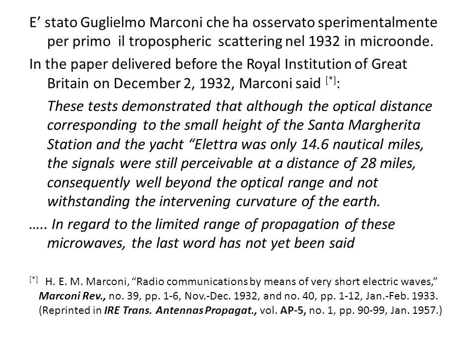 E' stato Guglielmo Marconi che ha osservato sperimentalmente per primo il tropospheric scattering nel 1932 in microonde.