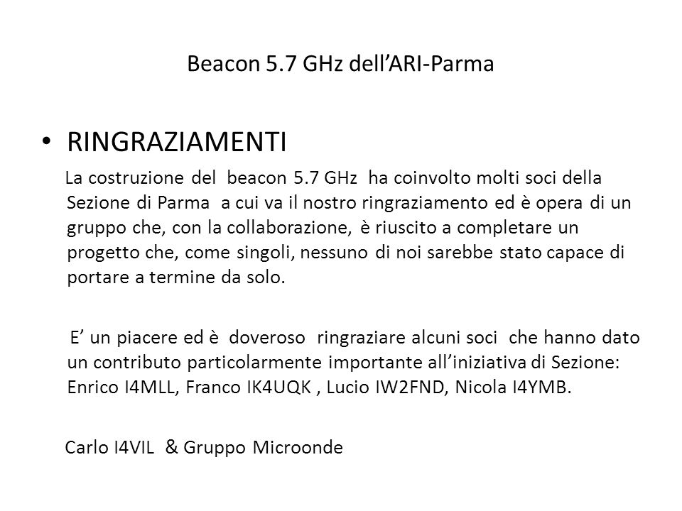 Beacon 5.7 GHz dell'ARI-Parma
