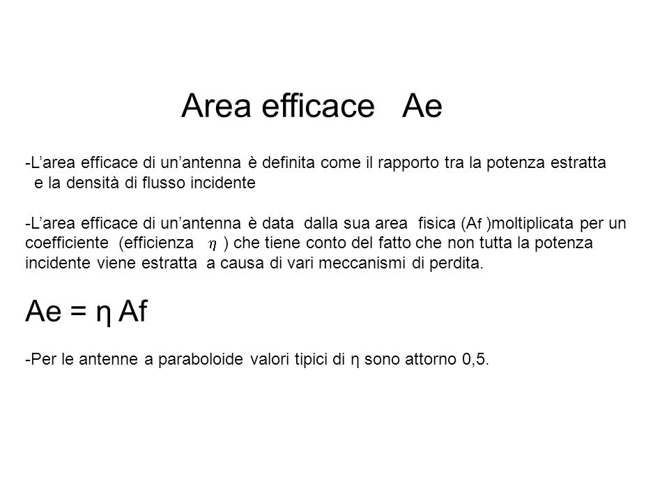 Area efficace Ae Ae = η Af