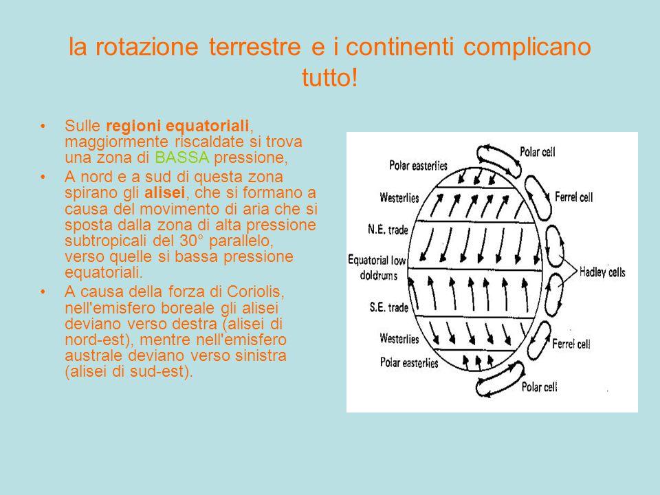 la rotazione terrestre e i continenti complicano tutto!