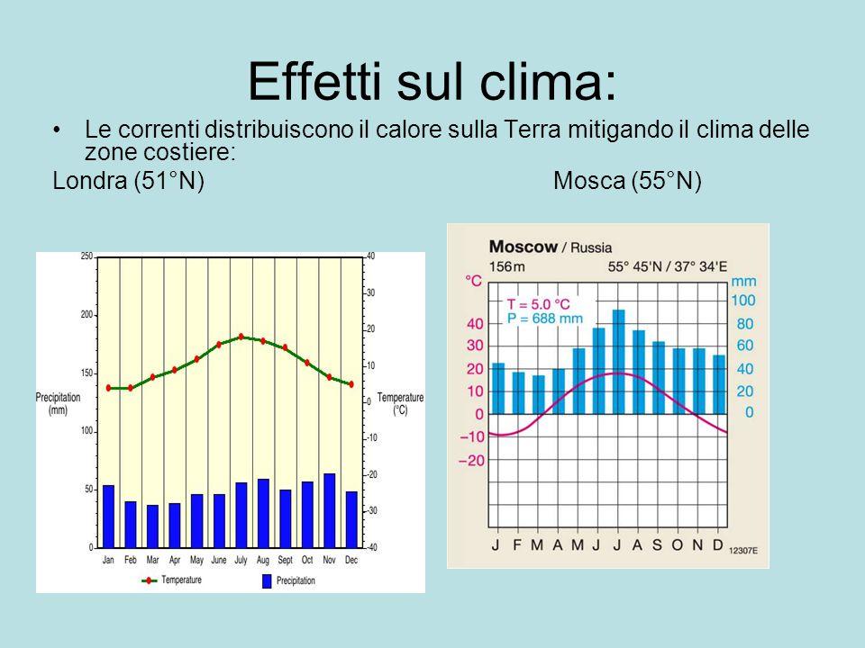 Effetti sul clima: Le correnti distribuiscono il calore sulla Terra mitigando il clima delle zone costiere: