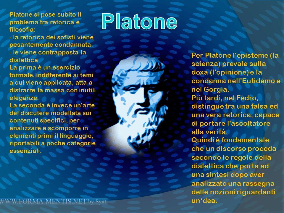 Platone Platone si pose subito il problema tra retorica e filosofia: - la retorica dei sofisti viene pesantemente condannata.