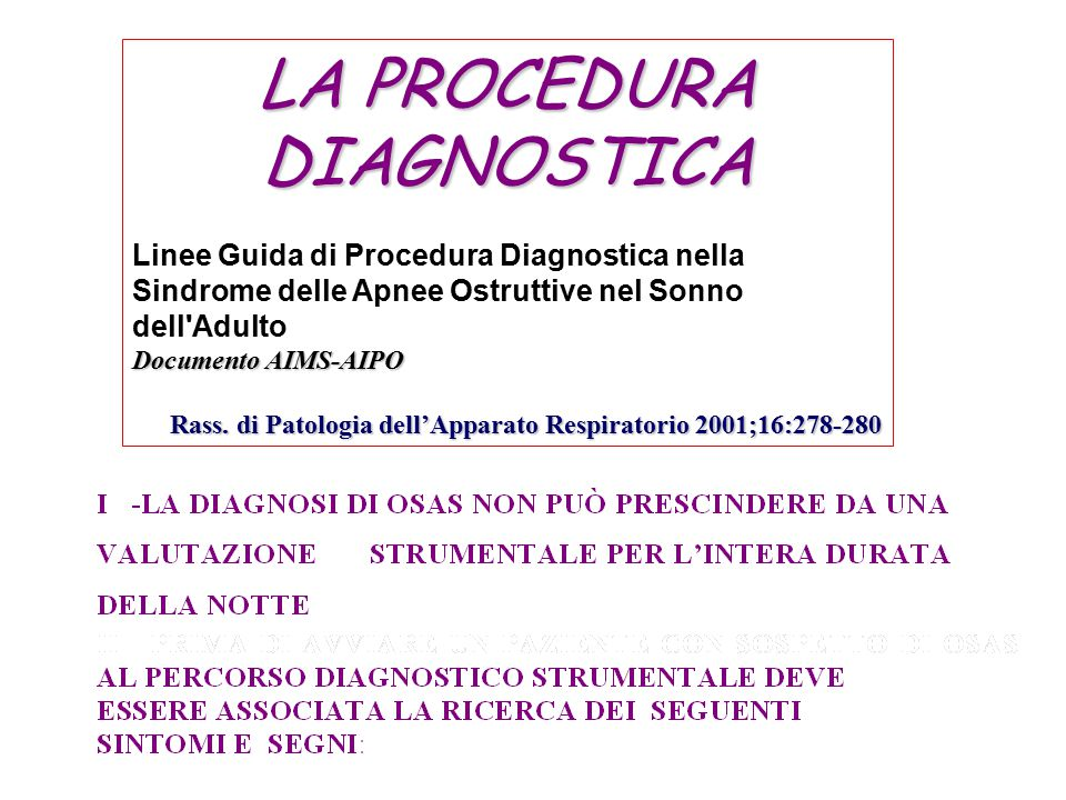 LA PROCEDURA DIAGNOSTICA