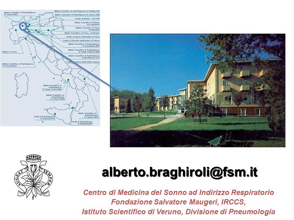 alberto.braghiroli@fsm.it Centro di Medicina del Sonno ad Indirizzo Respiratorio. Fondazione Salvatore Maugeri, IRCCS,