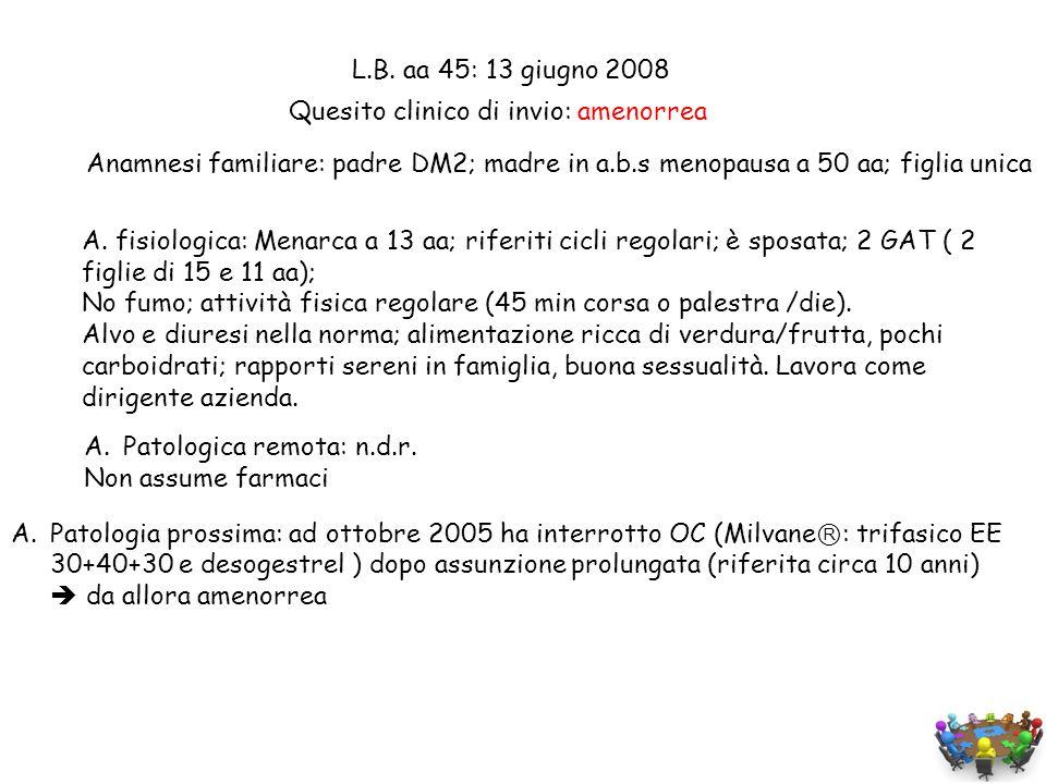 L.B. aa 45: 13 giugno 2008 Anamnesi familiare: padre DM2; madre in a.b.s menopausa a 50 aa; figlia unica.