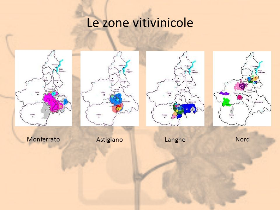 Le zone vitivinicole Monferrato Astigiano Langhe Nord