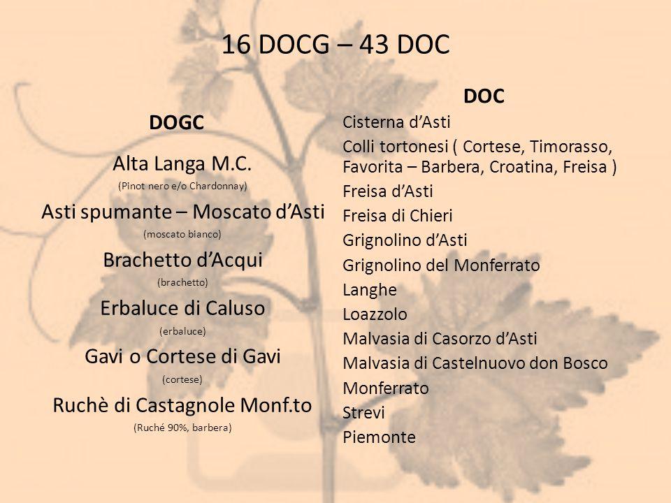 16 DOCG – 43 DOC DOC DOGC Alta Langa M.C.
