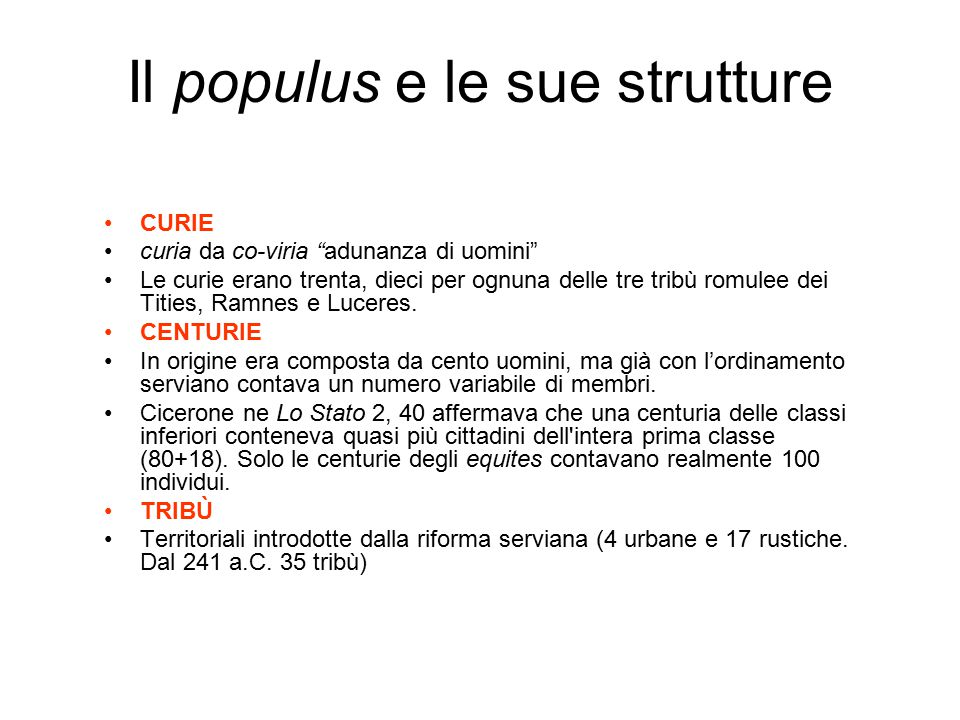 Il populus e le sue strutture