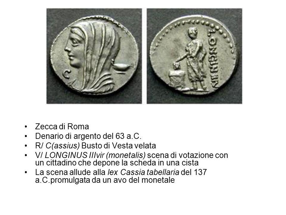 Zecca di Roma Denario di argento del 63 a.C. R/ C(assius) Busto di Vesta velata.