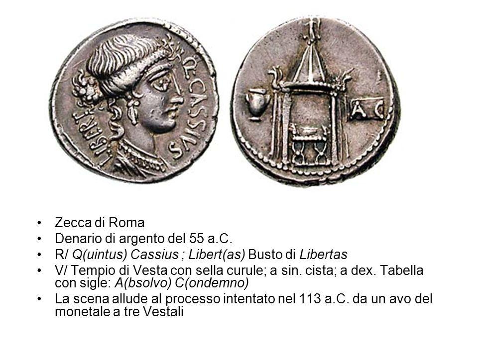Zecca di Roma Denario di argento del 55 a.C. R/ Q(uintus) Cassius ; Libert(as) Busto di Libertas.