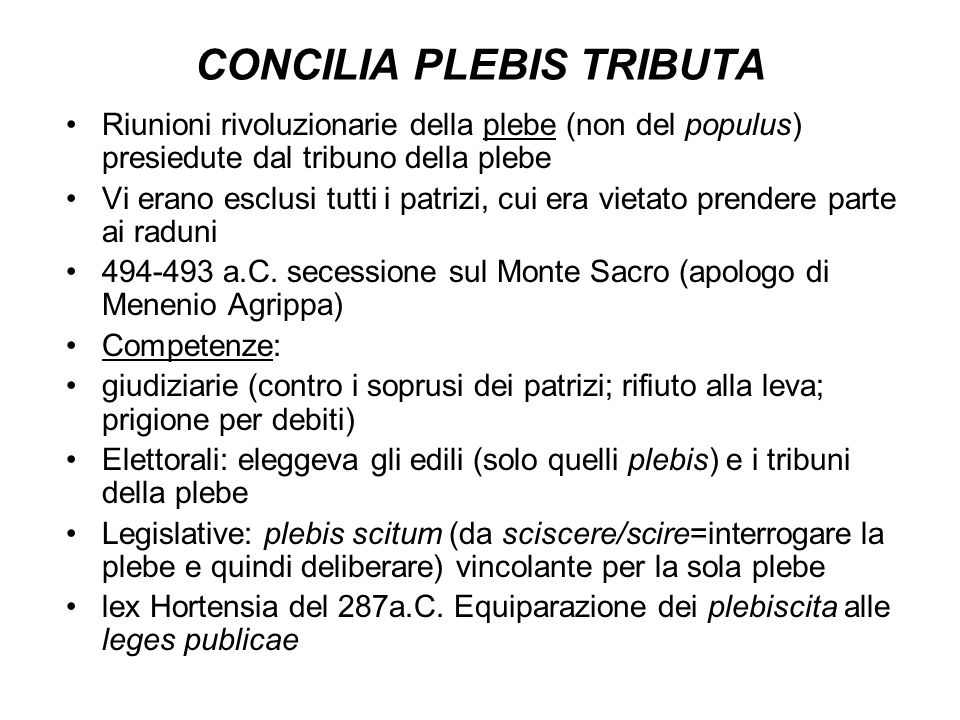 CONCILIA PLEBIS TRIBUTA