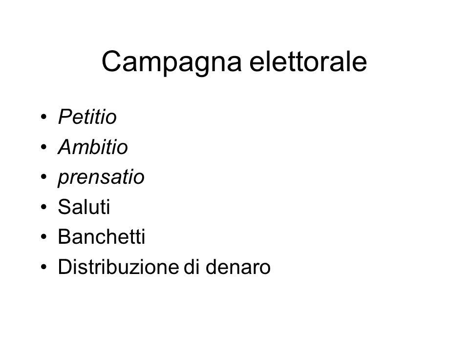 Campagna elettorale Petitio Ambitio prensatio Saluti Banchetti