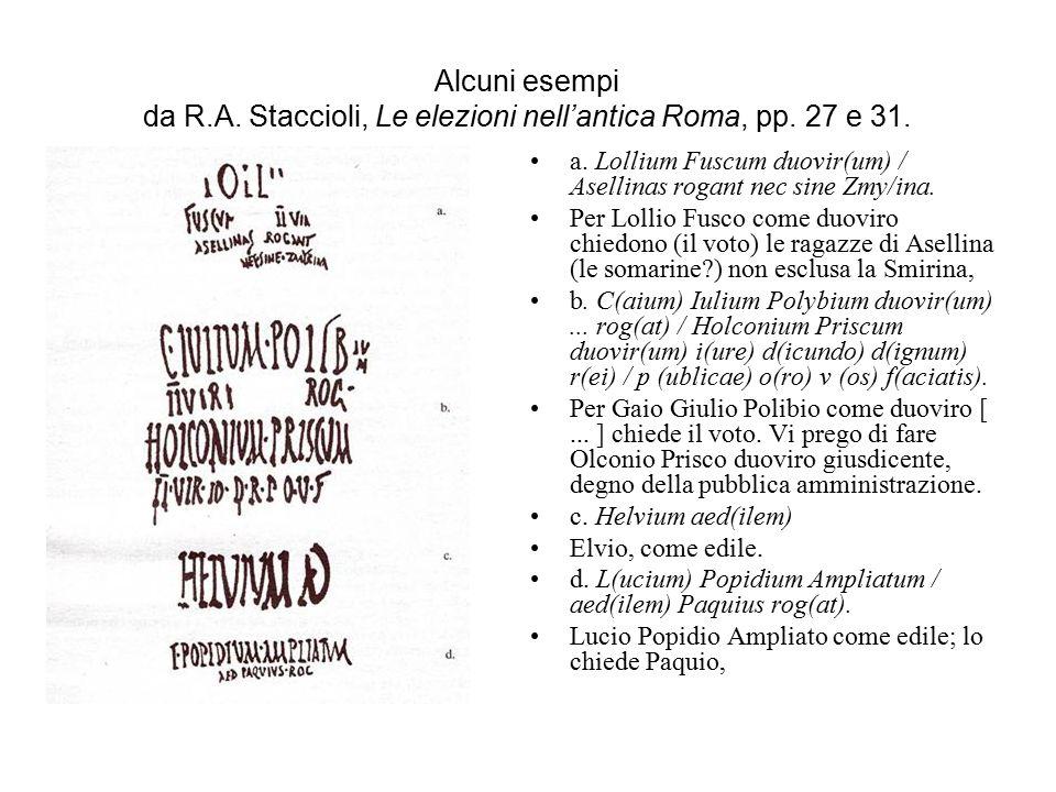 Alcuni esempi da R. A. Staccioli, Le elezioni nell'antica Roma, pp