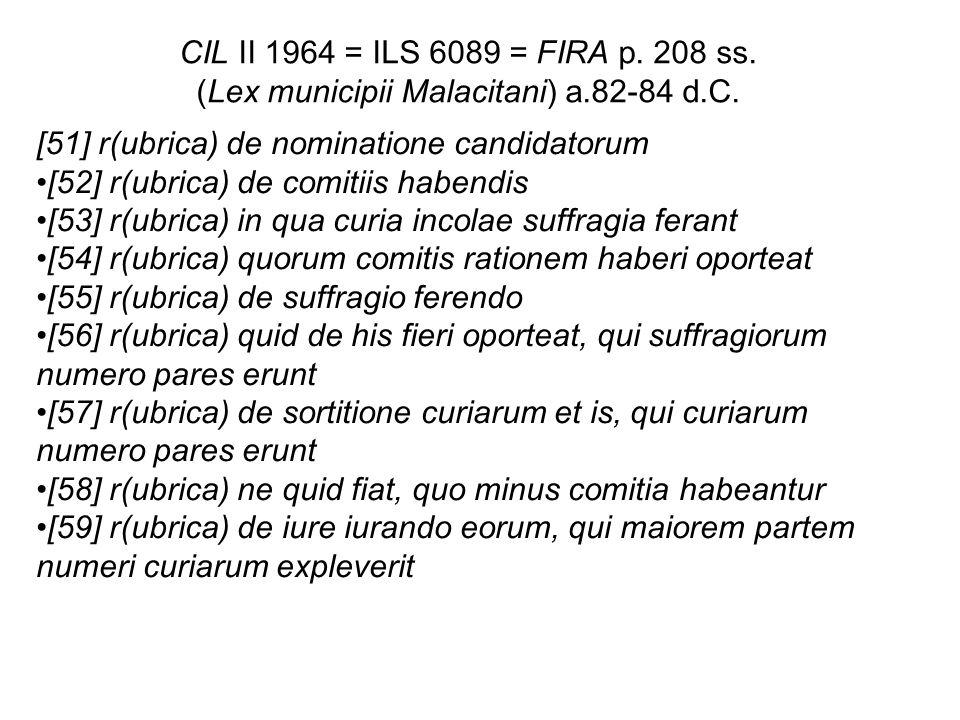CIL II 1964 = ILS 6089 = FIRA p. 208 ss. (Lex municipii Malacitani) a