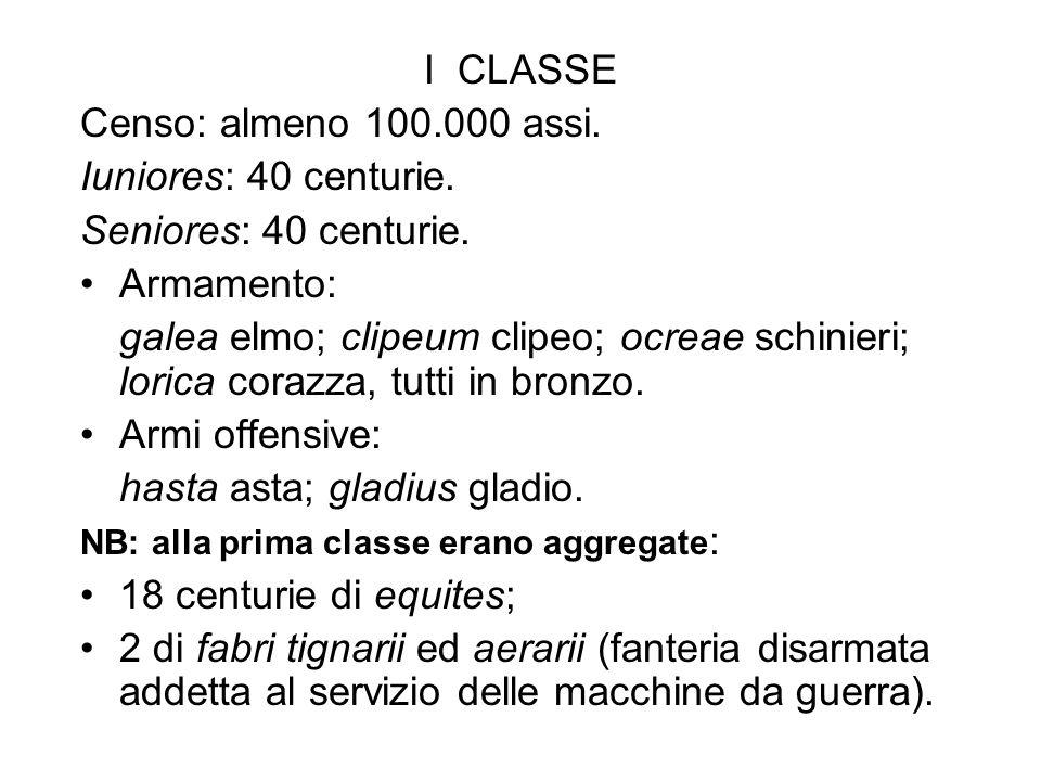 hasta asta; gladius gladio. 18 centurie di equites;
