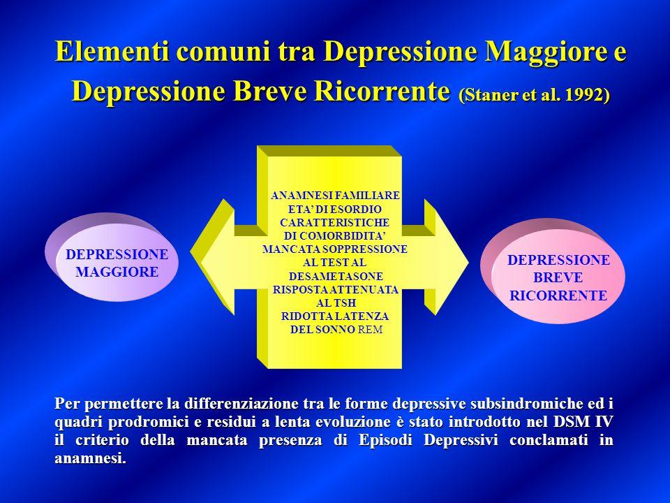 Elementi comuni tra Depressione Maggiore e Depressione Breve Ricorrente (Staner et al. 1992)