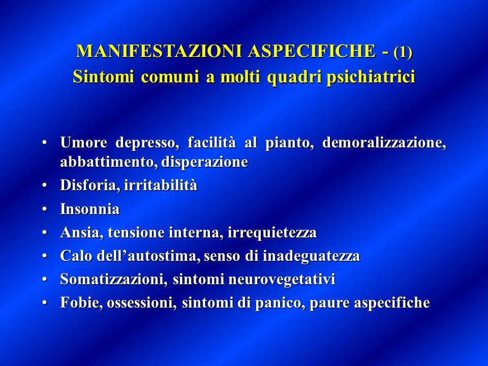 MANIFESTAZIONI ASPECIFICHE - (1) Sintomi comuni a molti quadri psichiatrici
