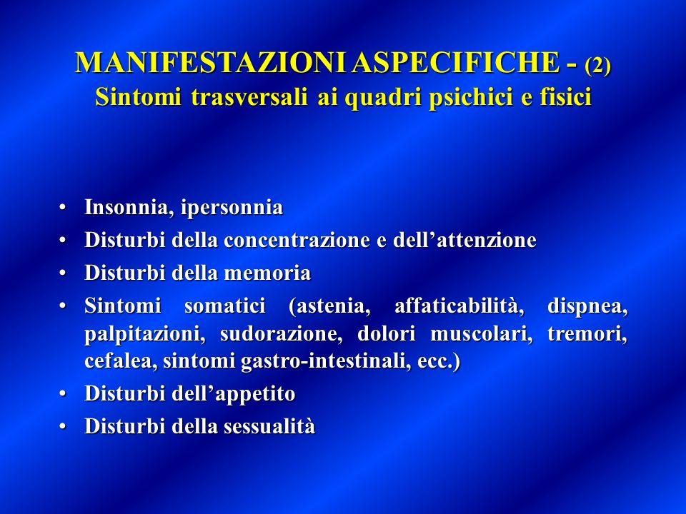 MANIFESTAZIONI ASPECIFICHE - (2) Sintomi trasversali ai quadri psichici e fisici